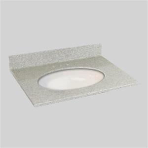 The Marble Factory 31-in x 22-in Bathroom Vanity Top with Undermount Oval Sink - Willow Mist