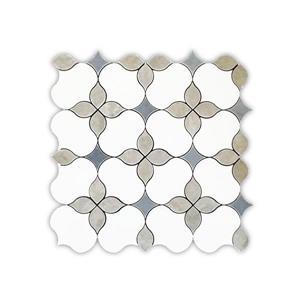 Jl Tile Marble Tile Carnation Floral Pattern White
