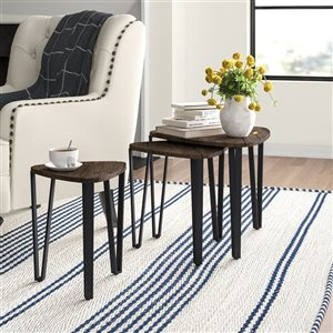 FurnitureR Coffee table Various Size - Black/Brown- Set of 3
