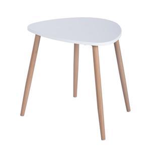 FurnitureR Modern Side Table - Wood and White - Set of 2