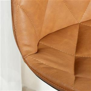 FurnitureR Office Chair - Faux Leather Brown