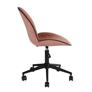 FurnitureR Office Chair with Casters - Pink Velvet