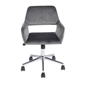 FurnitureR office Chair - Velvet Grey and Chrome