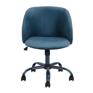 FurnitureR Office Chair - Casters - Blue Velvet