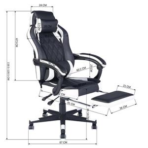 FurnitureR Racing Game or Office Chair - Black and White