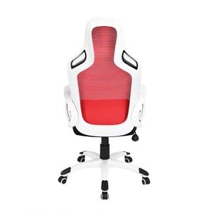 FurnitureR Game Racing Office Chair - Red and White
