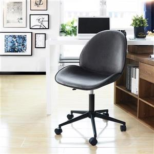 FurnitureR Adjustable Office Chair - Grey Velvet