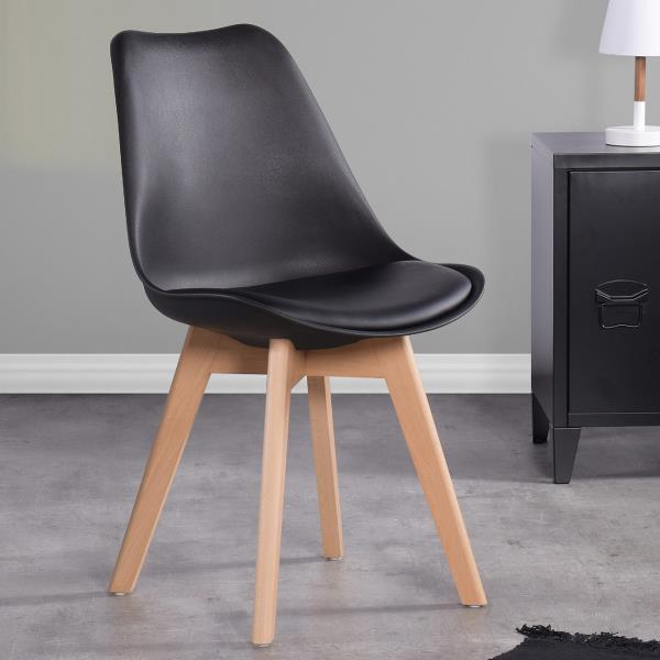 Furniturer Dining Chair Black Wood, Black Wooden Dining Chairs Set Of 4