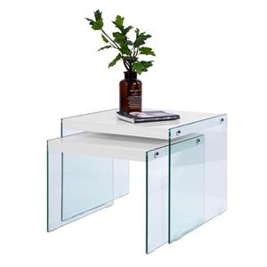 FurnitureR Glass Coffee Table Sets - White - Set of 2