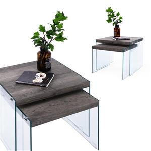 FurnitureR Glass Coffee Table Sets - Brown - Set of 2