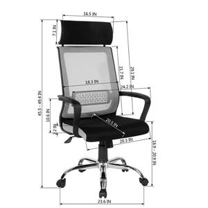 FurnitureR Office Chair with Casters - Mesh Black and Grey
