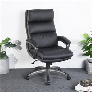 FurnitureR High Back Traditional Office Chair - Black