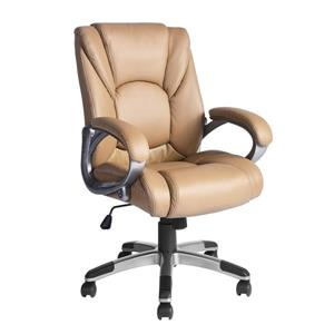 FurnitureR Boss Office Chair - Tan and Chrome