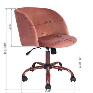 FurnitureR Office Chair - Casters - Pink Velvet