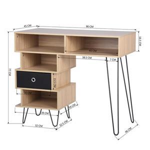 FurnitureR Hailee Computer Desk - 5 compartments - Natural and Black