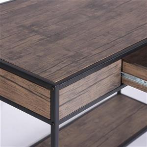 FurnitureR Blackburn Computer Desk - 1 drawer - Walnut/Black - 43-in
