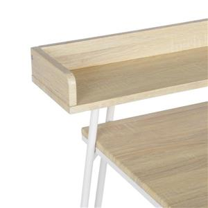 FurnitureR Computer Desk Acer Oak and White Metal Frame