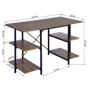FurnitureR Lucasio Computer Desk with Shelf -  Walnut and Black