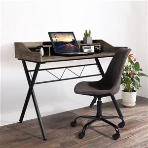 "FurnitureR Fort Computer Desk with Hutch - Brown and Black - 41"""