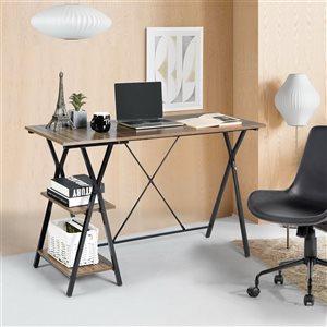 FurnitureR Maddie Computer Desk with 2 Storage Shelves