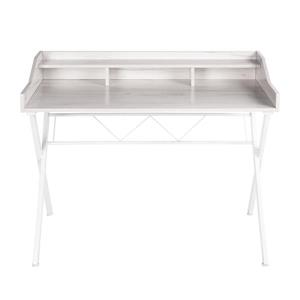 FurnitureR Fort Computer Desk with Hutch - White - 41-in