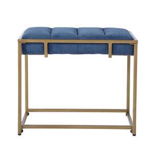 FurnitureR COWAN Ottoman - Blue Velvet and Gold