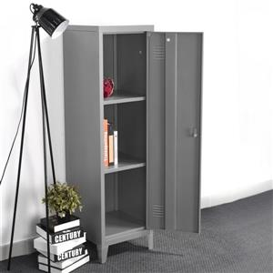 FurnitureR Councilbluffs Metal Cabinet/Locker -  Dark Grey - 54.1-in
