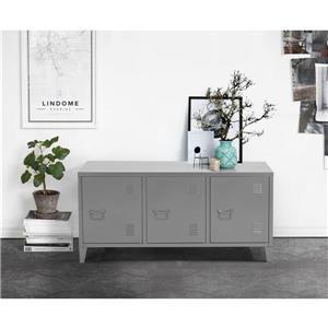FurnitureR Storage Cabinet 3-Door Metal File locker - Dark Grey- 47.2-in