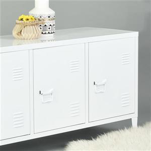 FurnitureR Storage Cabinet 3-Door Metal File locker - White - 47.2-in