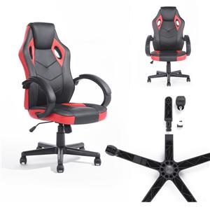 FurnitureR Linton Office/Gaming Chair with Casters - Black/Red