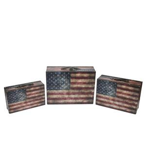 Northlight Rustic American Flag Decor Wooden Storage Boxes - Set of 3