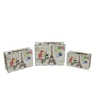 Northlight Eiffel Tower Paris/Flowers Wooden Storage Boxes- Set of 3