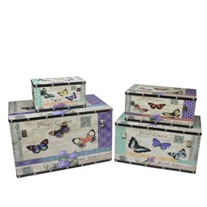 Northlight Wooden Garden-Style Butterfly Decor Storage Boxes - Set of 4