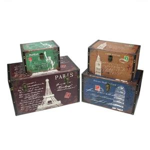 Northlight Vintage-Style Travel Themed Wooden Storage Boxes-Set of 4