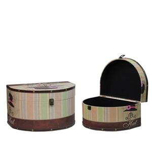 Northlight Wooden Vintage-Style Decorative Hat Storage Boxes - Set of 2