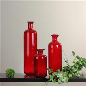 Northlight Candy Apple Red Decorative Translucent Bottles - Set of 3