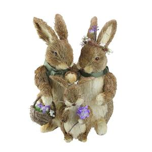 Northlight Bunny Parents and Son with Flower Necklace and Scarf Figures