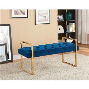 Hi-Line Gift Navy Blue Button-Tufted Velvet Bench - Gold Stainless Steel