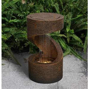 Hi-Line Gift Garden Fountain - Brown Resin - LED Light - 14""