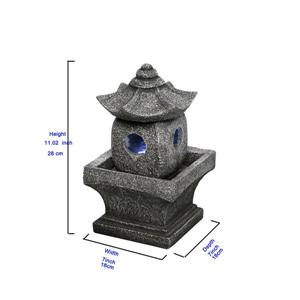 Hi-Line Gift Pagoda Garden Fountain - Grey Resin - 11""