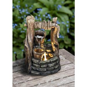 Hi-Line Gift 2 Buckets Garden Fountain - LED Light - Bronze
