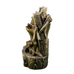 Hi-Line Gift Tree Trunk Garden Fountain With Leaves - LED Light