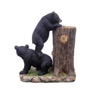 Hi-Line Gift Garden Fountain - 2 Bears Drinking Water - LED Light