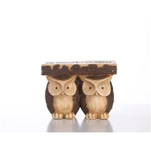 """Hi-Line Gift Plant Stand - 2 Owls With Welcome Sign - 11.25"""""""