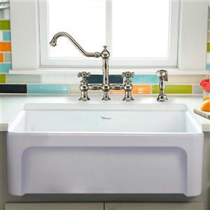 Whitehaus Collection Front Apron Fireclay Kitchen Sink - Single Bowl - White