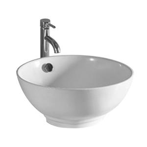 Whitehaus Collection Circular Bathroom Sink with Overflow - White Porcelain