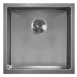 Whitehaus Collection Dual Mount Kitchen Sink - Square Single Bowl - Grey Metal