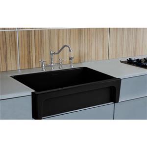 Whitehaus Collection Front Apron Fireclay Kitchen Sink - Single Bowl - Black