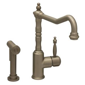 Whitehaus Collection Kitchen Faucet with Side Sprayer - Brushed Nickel