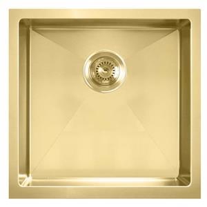Whitehaus Collection Dual Mount Kitchen Sink Set - Square Single Bowl -Gold Brass
